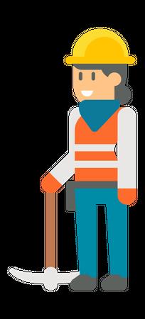 Female worker holding pickaxe Illustration
