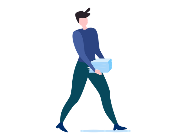 Female worker walking with papers in her hand Illustration