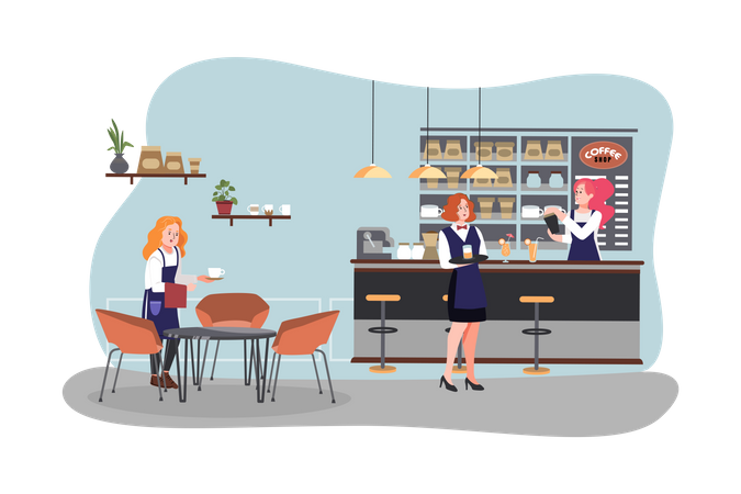 Female workers working in cafe Illustration