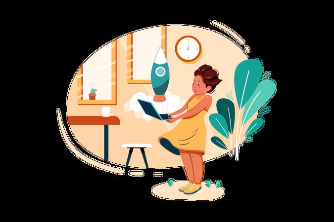 Female working on business startup idea Illustration