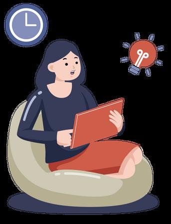 Female working on creative idea on tablet Illustration