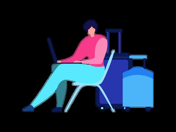 Female working on laptop Illustration