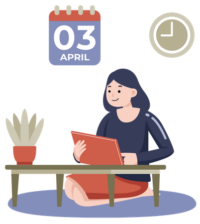 Female working on project while seating on floor with calendar and clock on wall Illustration