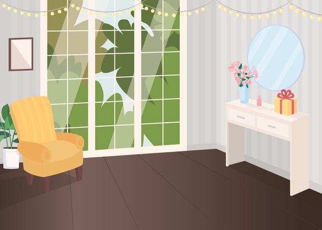 Festive decorated room Illustration
