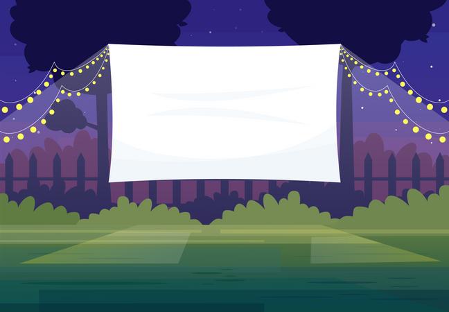 Festive outdoor cinema screen Illustration