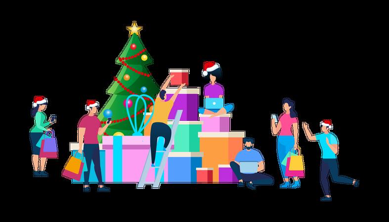 Festive People Preparing for Christmas Celebration Illustration