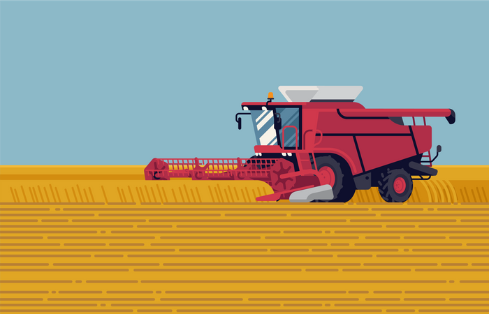 Field harvest with grain header combine harvester reaping crops Illustration