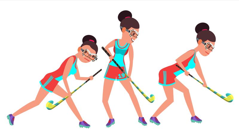 Field Hockey Female Player Vector. Dribbling Ball. In Action. Poses. Women S Grass Hockey Match. Cartoon Character Illustration Illustration