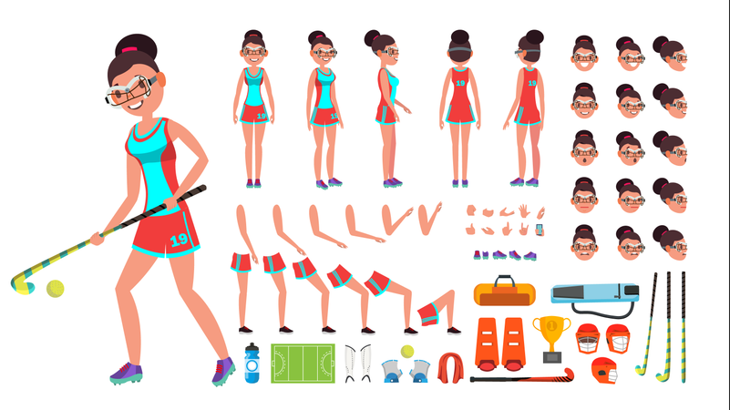 Field Hockey Player Female Vector. Animated Character Creation Set. Full Length, Front, Side, Back View, Accessories, Poses, Face Emotions, Gestures. Isolated Flat Cartoon Illustration Illustration