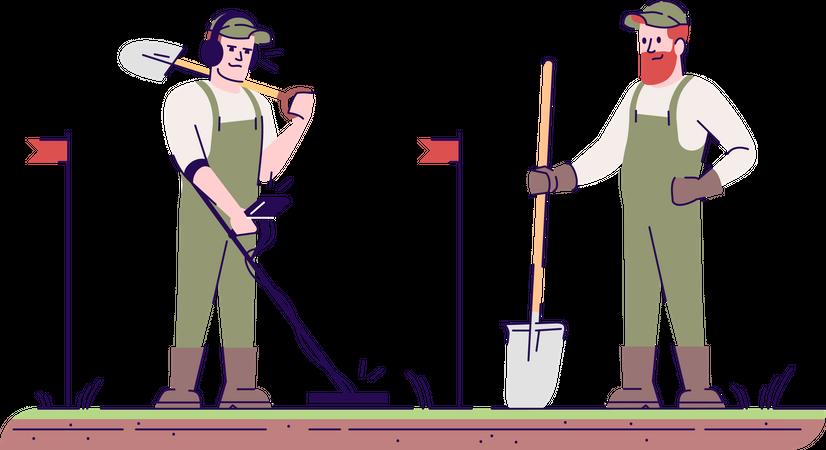 Field survey using metal detector and shovel Illustration