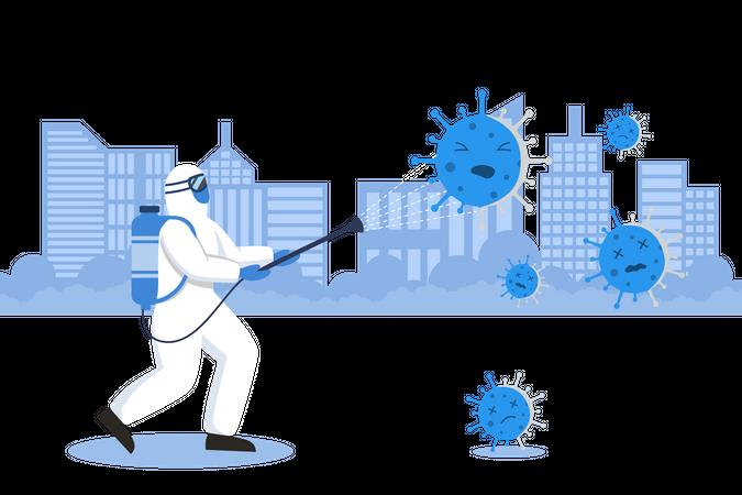 Fight With Corona Virus Illustration