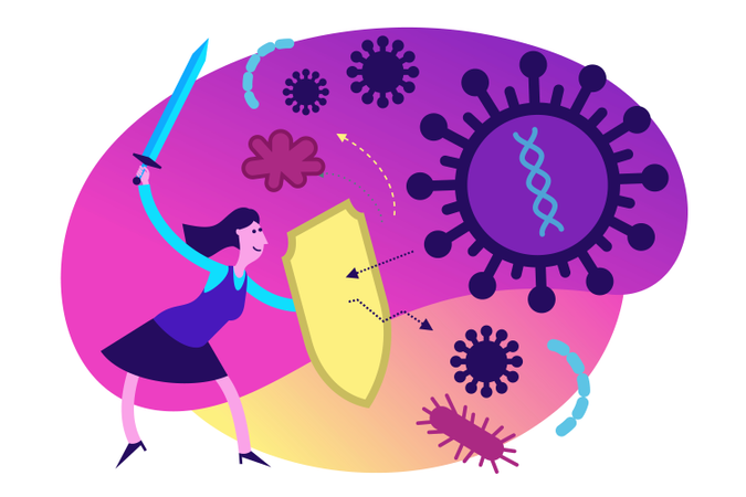 Fight with different diseases Illustration
