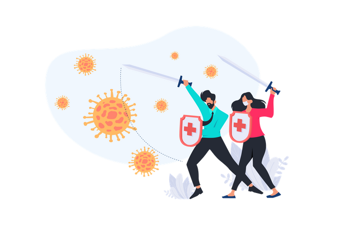 Fight with the Virus Illustration