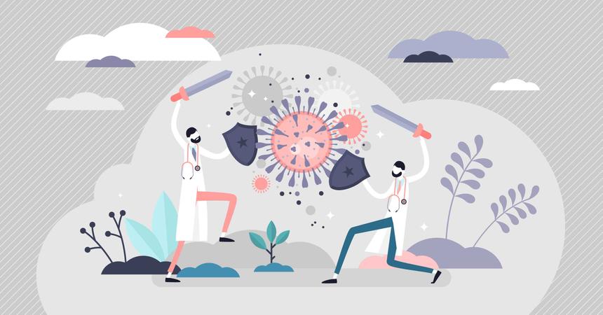 Fighting virus scene Illustration