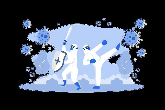 Fighting With Coronavirus Illustration