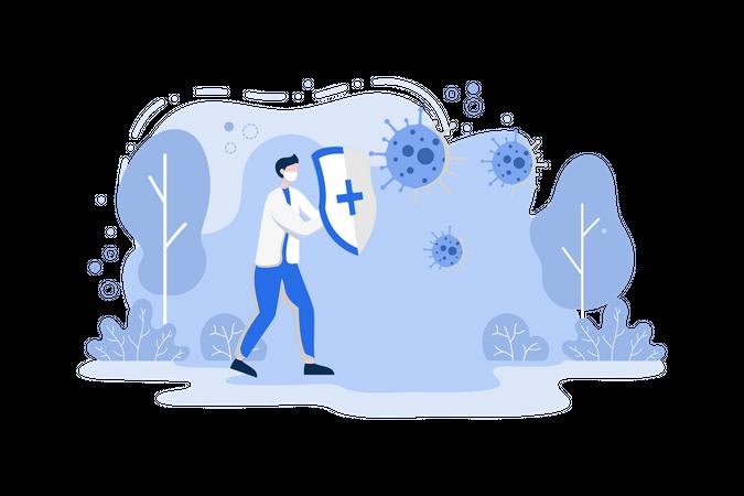 Fighting With Virus Illustration