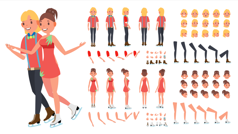 Figure Skating Couple Different Body Parts Used In Animation Illustration