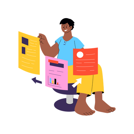 File management by employee Illustration