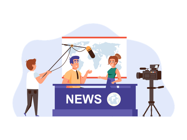 Filming television world news program Illustration