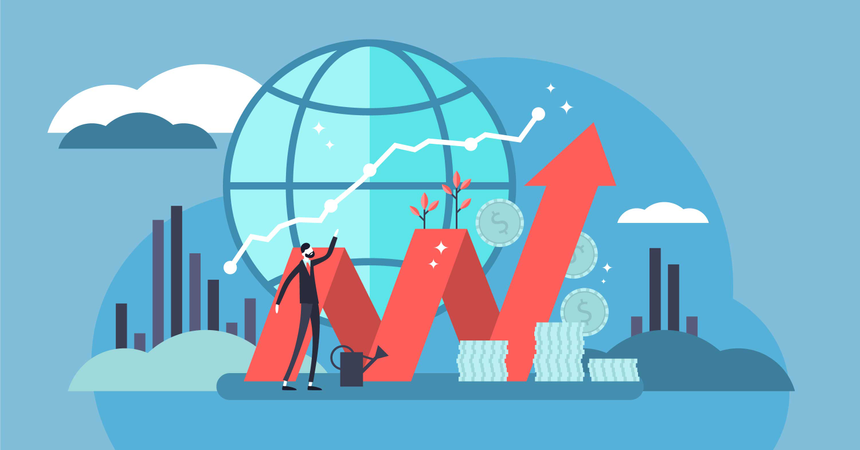 Finance and economy profit with coins Illustration