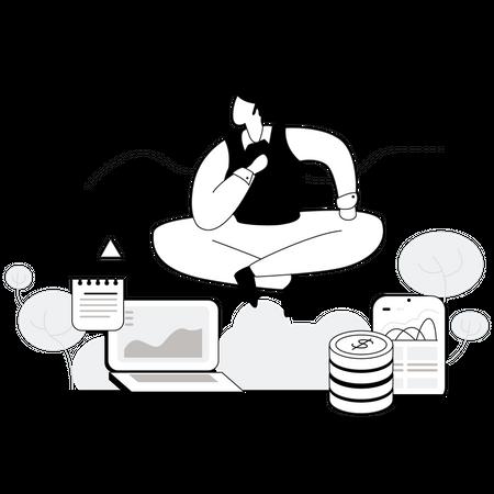 Finance manager doing financial planning Illustration