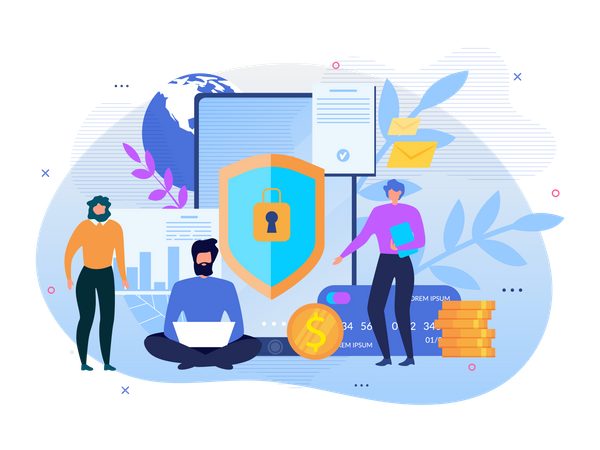 Finance security and Data protection Illustration