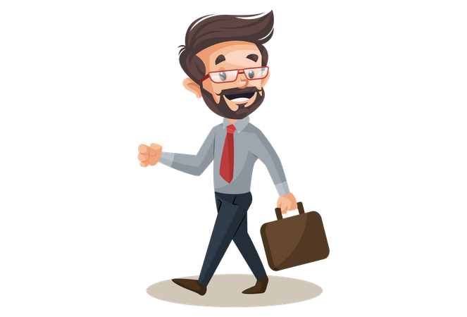 Financial advisor holding a briefcase and going for the office Illustration