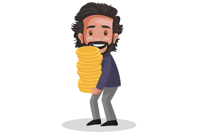 Financial Advisor holding gold coin pile in his hand Illustration