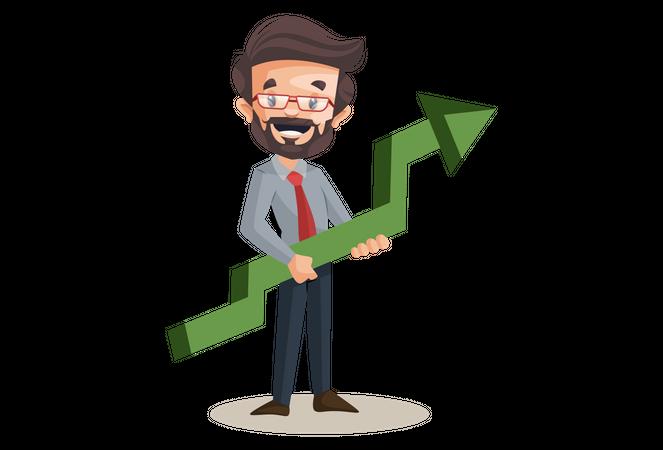 Financial advisor holding growth arrow in hand Illustration