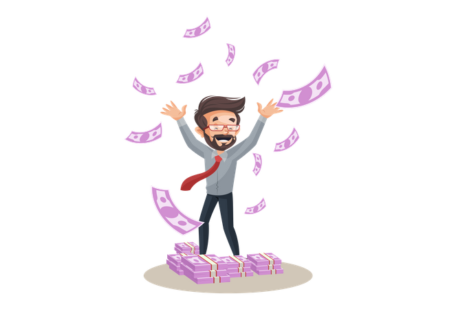 Financial advisor is happy and flying money Illustration
