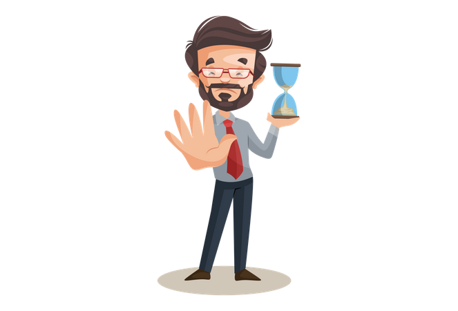 Financial advisor is holding hourglass timer in hand and showing stop hand sign Illustration
