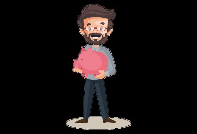 Financial advisor is holding piggy bank in hands Illustration