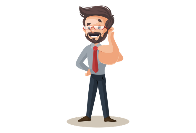 Financial advisor is showing thumbs up Illustration