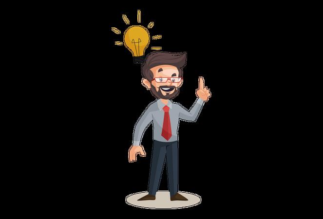 Financial advisor with business idea Illustration