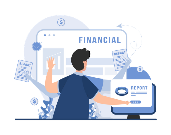 Financial analyst doing multitasking Illustration