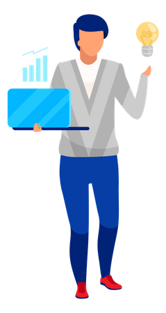Financial analyst giving idea for business growth Illustration