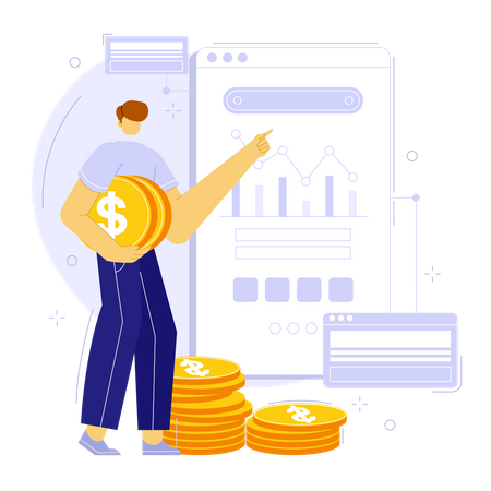 Financial and budget planning on the web using statistics Illustration