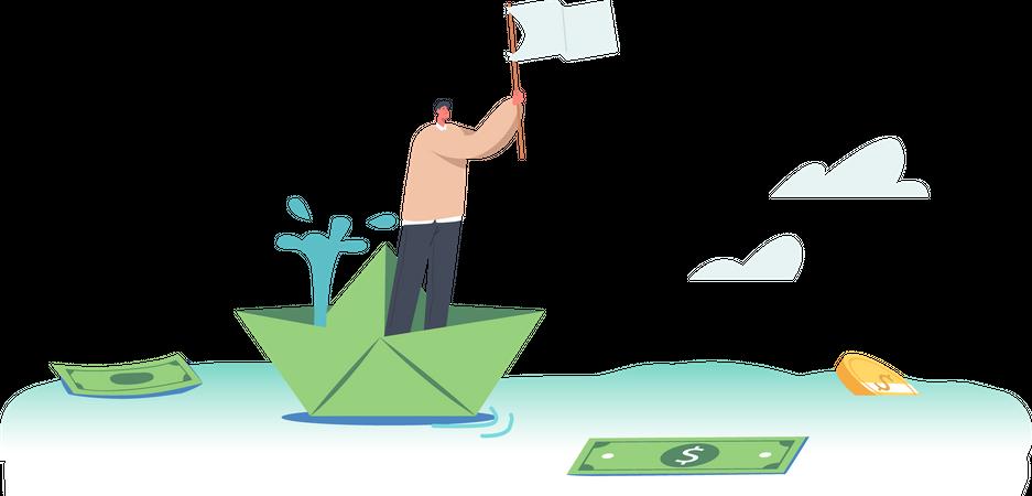 Financial Crisis Bankruptcy Illustration