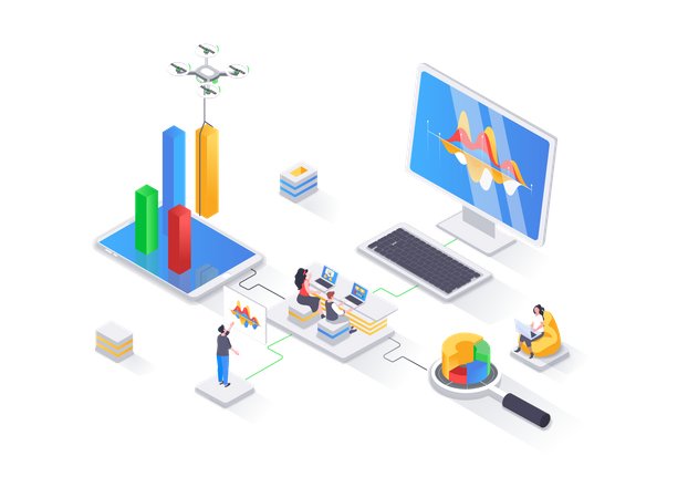 Financial data analysis, management and optimization, database structuring Illustration