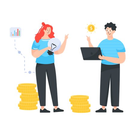 Financial Discussion between husband and wife Illustration