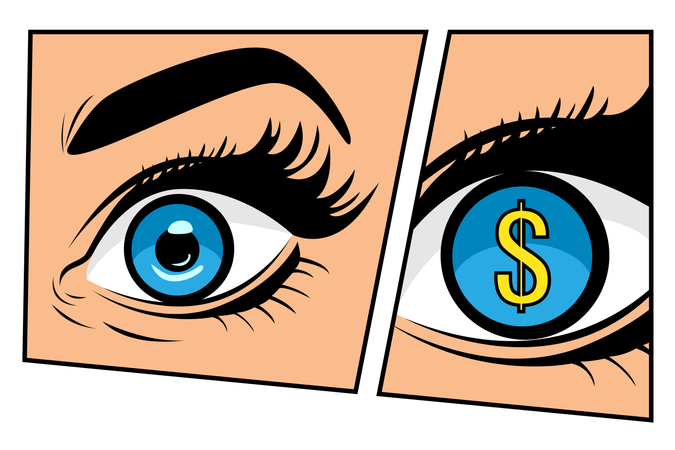 Financial monitoring of currency dollar businessman or businesswoman in comic storyboard pop art retro style. Sexy surprised woman with open mouth. Colorful vector background in pop art retro comic style. Illustration