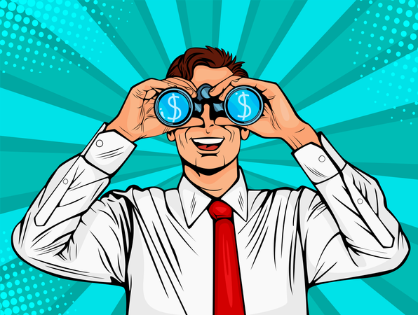 Financial monitoring of currency dollar businessman with binoculars Illustration