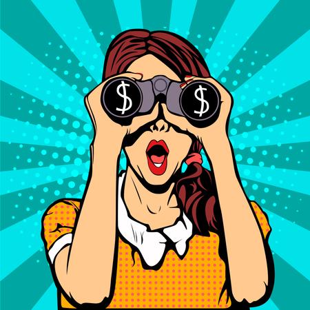 Financial monitoring of currency dollar businesswoman binoculars pop art retro style Illustration