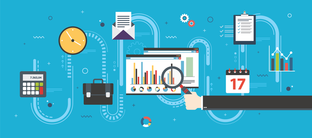 Financial strategy, analytics with growth report Illustration