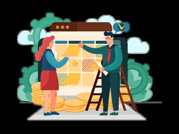 Financial Task Management Illustration