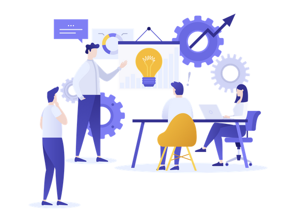 Finding business solution during group discussion or corporate meeting Illustration