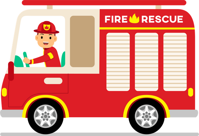 Fire fighter driving fire rescue truck Illustration