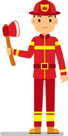 Fire fighter holding axe in hand Illustration
