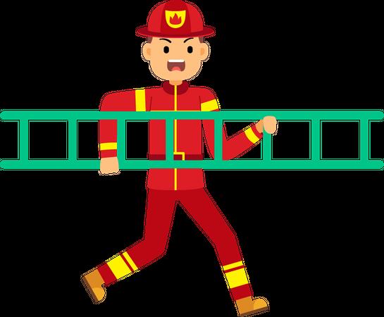 Fire fighter running holding ladder Illustration