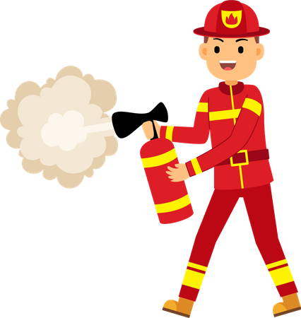 Fire fighter using fire extinguisher Illustration